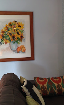 """""""Sunflowers with Peaches and Pear"""" in Living room.JPG"""