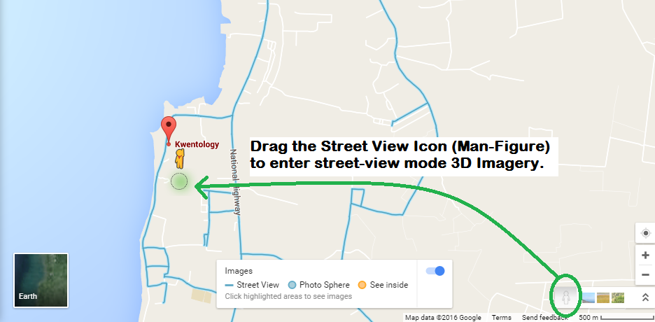 Image of Human-like figure (Street-view icon) along roads of Balangigay