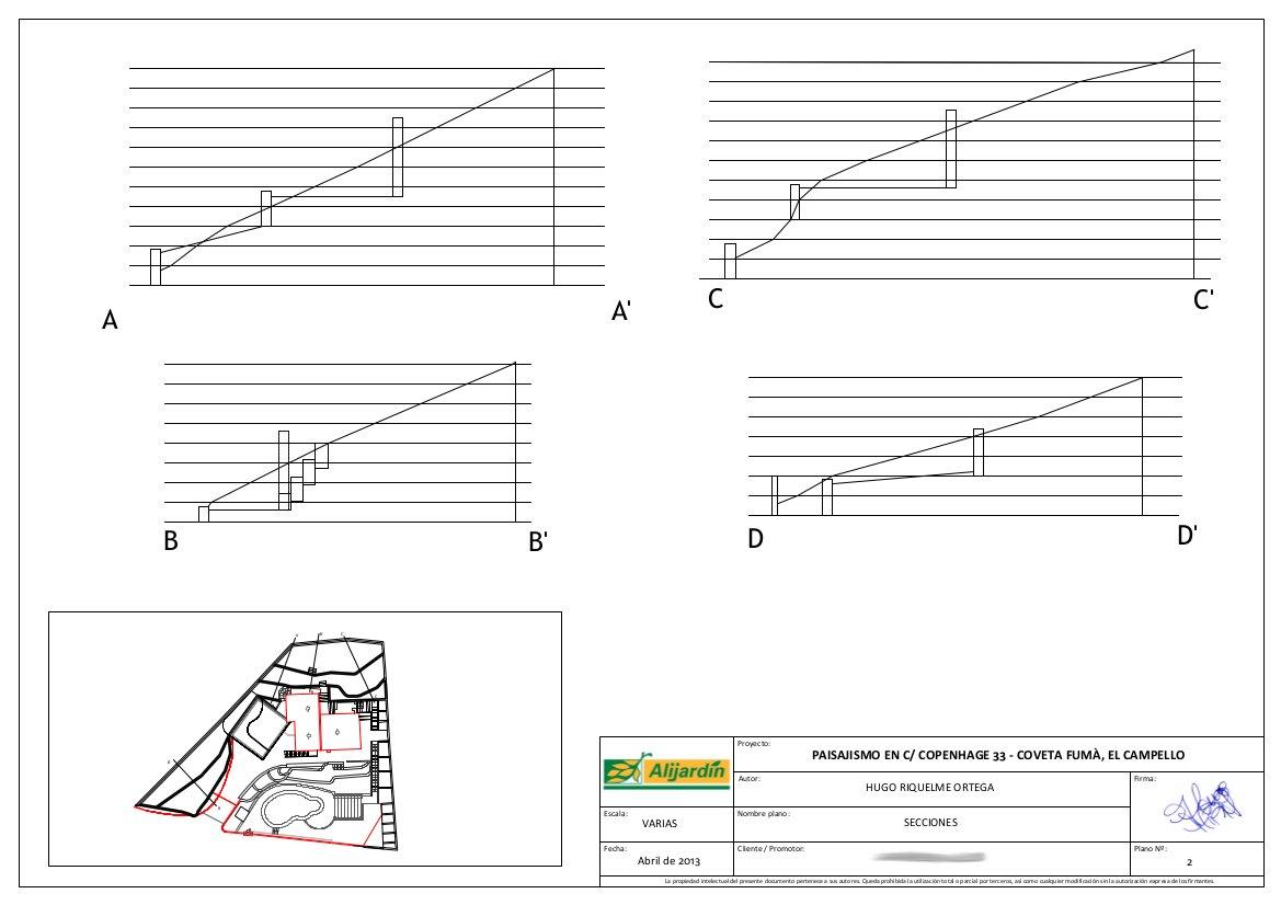 proyecto de paisajismo diseño jardín jardinería tropical mediterráneo césped terrazas plano planos