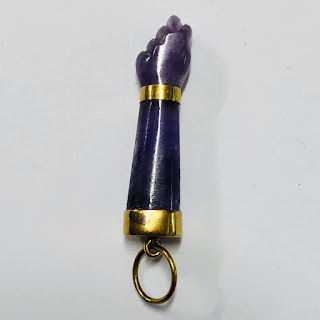 18K Gold and Amethyst Fig Sign Pendant