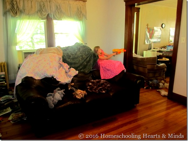Nerf fort at Homeschooling Hearts & Minds
