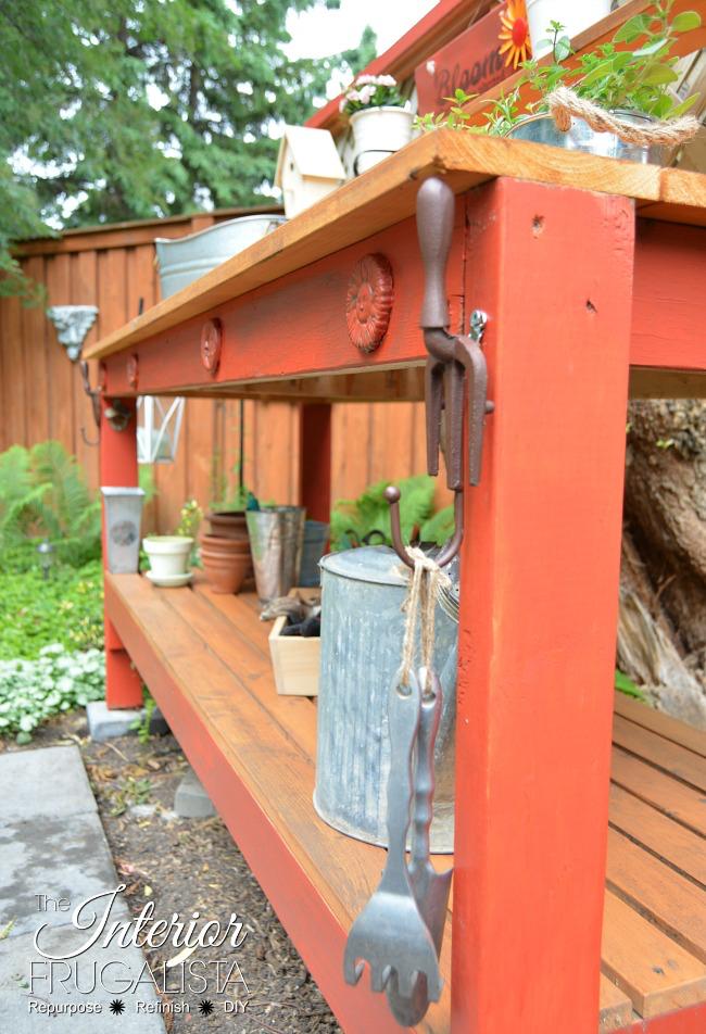 red potting bench