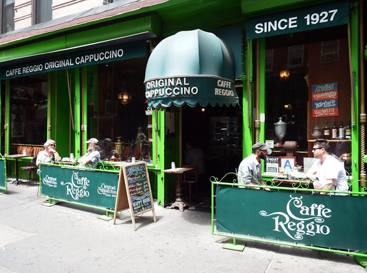 The exterior of Caffe Reggio, with outside seating in warm weather.  Photo: Bringing It All Back Home.
