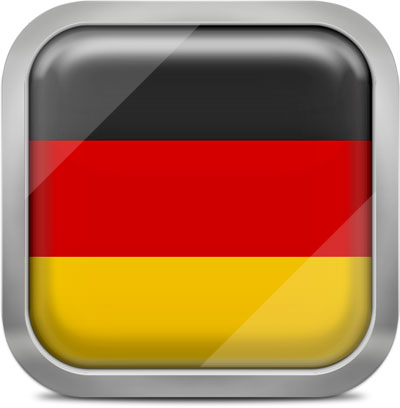 Germany square flag with metallic frame