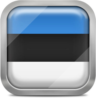 Estonia square flag with metallic frame