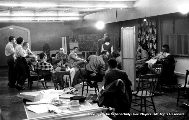 In rehearsal for JOAN OF LORRAINE - March 1955. Property of The Schenectady Civic Players Theater Archive.