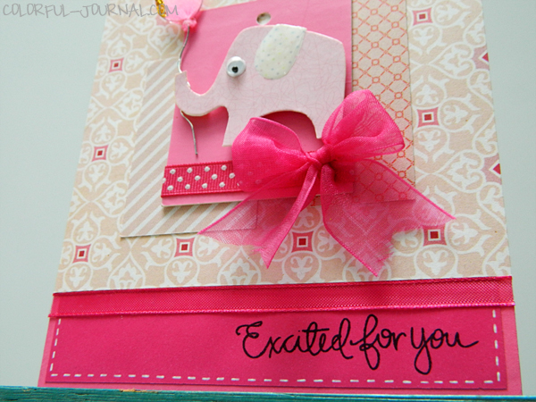 baby girl card echo park paper pink fuchsia challenge two peas in a bucket elephant balloon ribbon bow