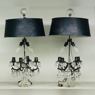 Antique Rock Crystal Candelabra Lamp Pair