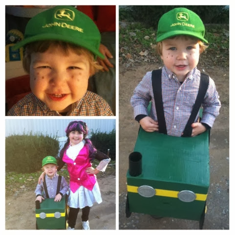 Marshall's Halloween costume from two years ago... He was a farmer driving a John Deere tractor. Sissy-o (Makenzie) was Draculaura from Monster High. :)