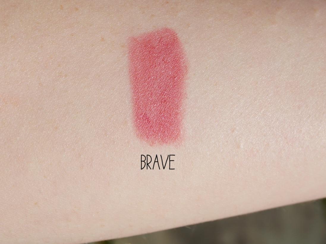 mac lipstick brave swatch review