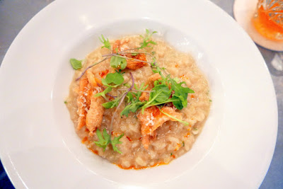Clyde Common Portland Dining Month 2016 Second course: Preserved ramp butter risotto with grana padano, chili oil and chicken chicharrónes