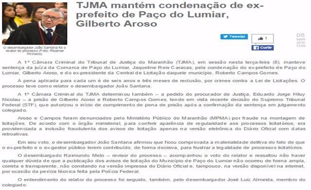 BOMBA: GILBERTO AROSO PODE SER PRESO A QUALQUER MOMENTO.