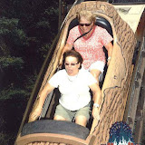 Pam and Cindy on the log at Idlewild.