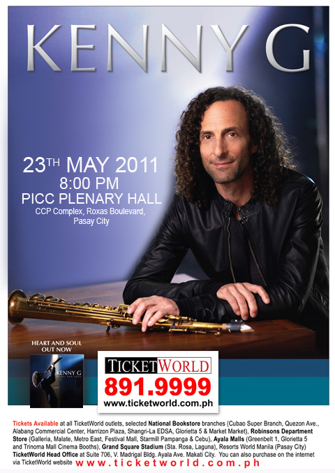 Kenny_G_Live_in_Manila, Kenny G Live in Manila 2011, ticket, poster, picture