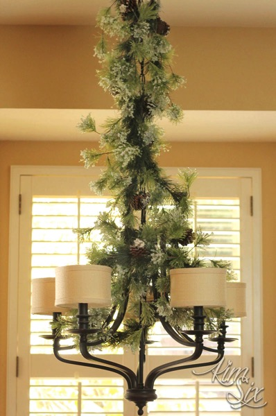 Greenery on Chandelier for Christmas