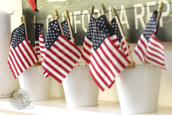 Little Buckets filled with American Flags