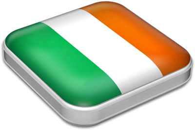 Flag of Ireland with metallic square frame