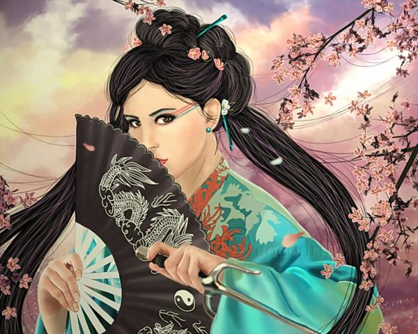 Samurai Beauty In Rain Of Cherry, Magic Samurai Beauties