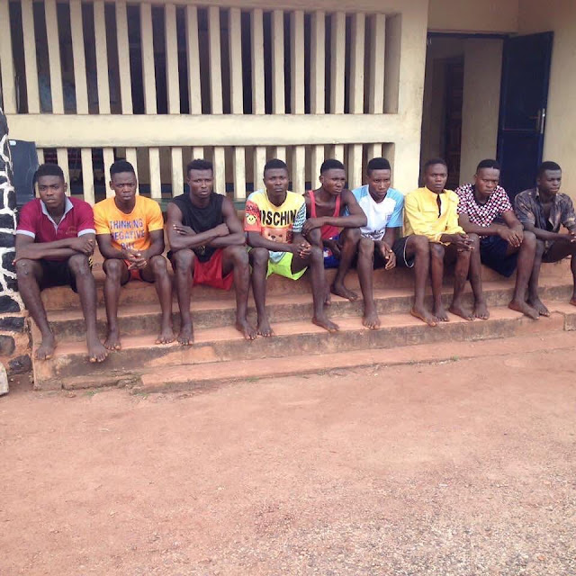 Nine Men who specialize on Raping women on their way to Night Vigil arrested in Enugu (Photo)
