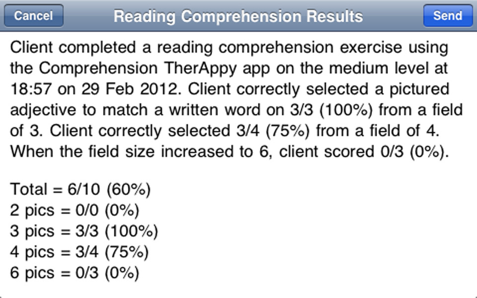 Comprehension TherAppy Results E-mail icon