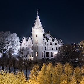 Gamlehaugen by night by Steven Snoots - Buildings & Architecture Public & Historical ( castle winter landscape bergen norway )