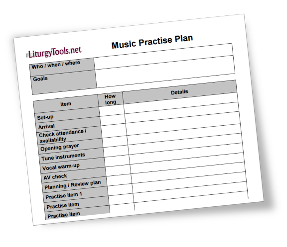 LiturgyTools.net: Blank Template For A Church Music Roster
