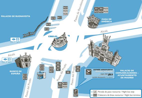 Planos de la nueva red de autobuses nocturnos (búhos) desde el 30 de septiembre de 2013