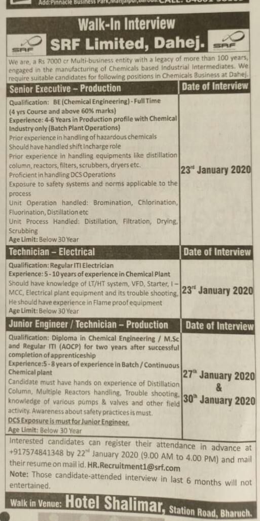 SRF Limited - Walk in interview for Production, Electrical on 23rd, 27th & 30th Jan 2020