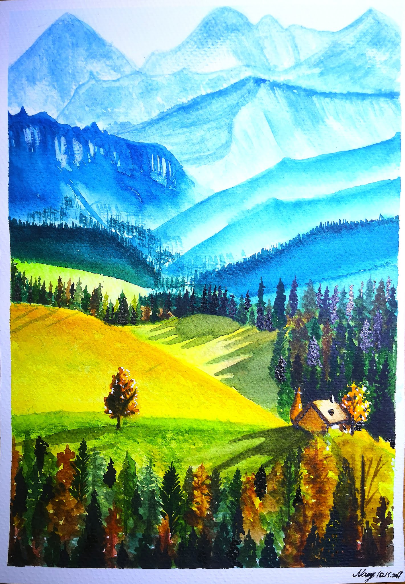 How To Paint Mountains With Acrylics : paint, mountains, acrylics, Europe, Landscapes, Autumn, Mountains, Watercolor, HiArt