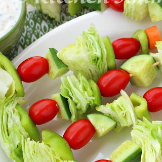 Salad Skewers with Garlicky Herb Buttermilk Ranch Dressing