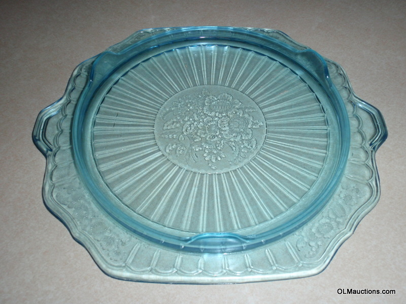Internet Superstores Blue Depression Glass Footed Cake