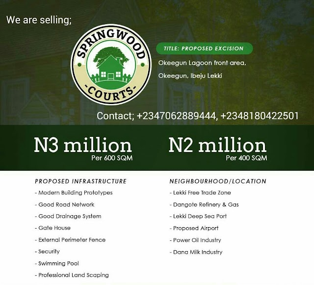 SPRINGWOOD COURTS,  OKEGUN TOWN, IBEJU LEKKI, LAGOS  (LAND FOR SALE)
