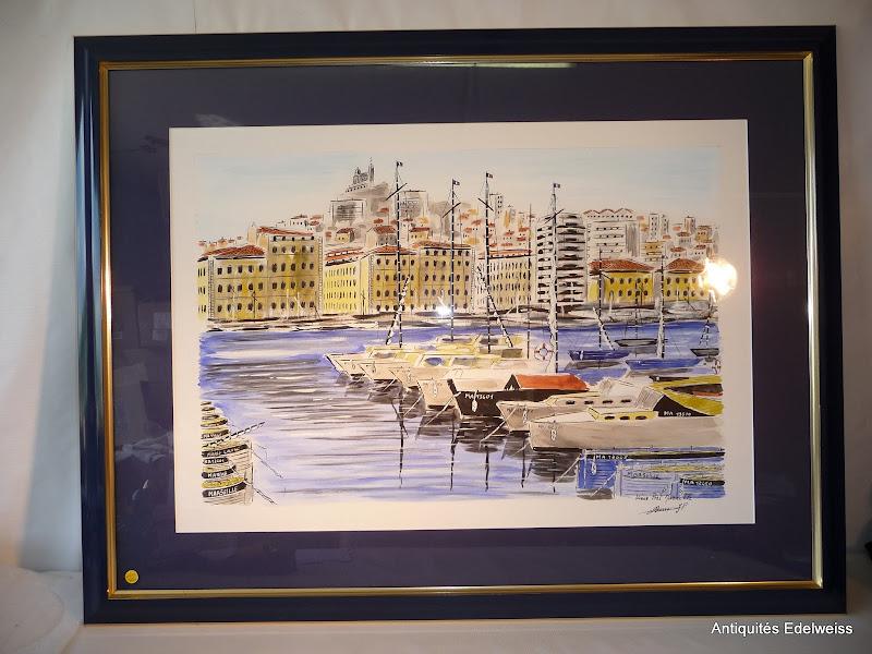 tableau vue du vieux port de marseille sous verre cadre et marquise bleu marine ebay. Black Bedroom Furniture Sets. Home Design Ideas