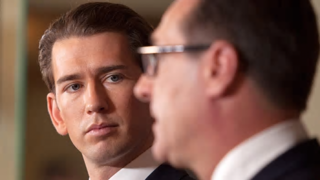 Sebastian Kurz of Austria's conservative People's party listens during a joint press conference with the far-right Freedom party's Heinz-Christian Strache. Photo: AFP
