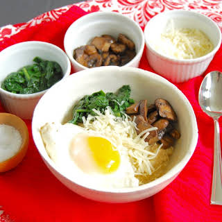 Savory Oatmeal Bowl with Spinach, Mushrooms, and Fried Egg.