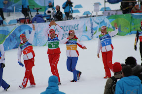 Gold medallist Russians heading to the podium