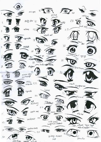Desenho de olhos de anime ou mangá