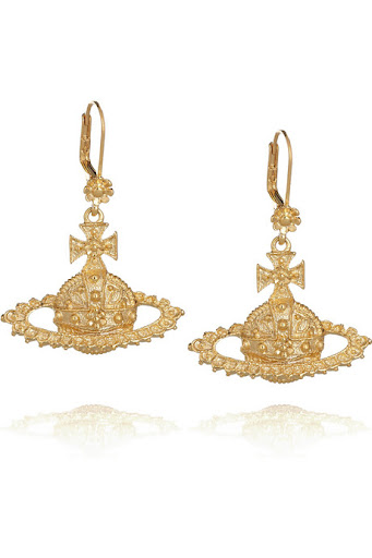 Vivienne Westwood's gold-plated bas-relief orb earrings