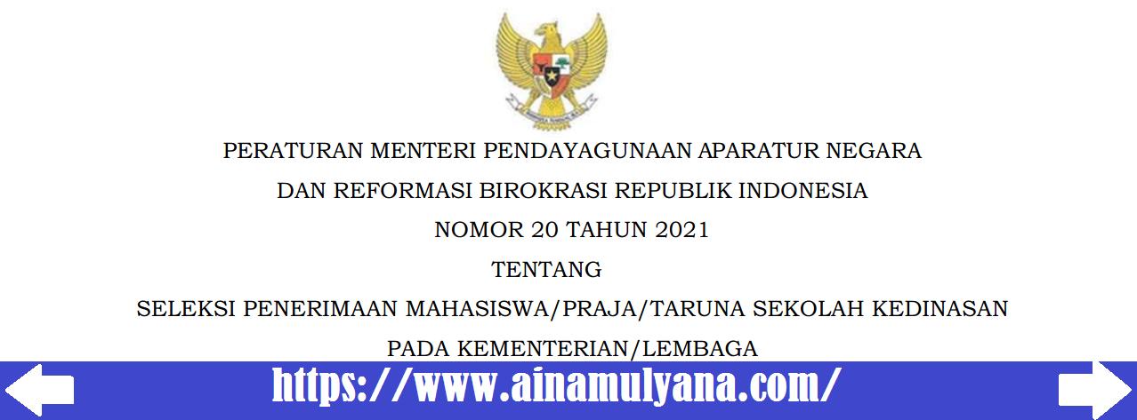 Peraturan Menpan RB atau Permenpan RB Nomor 20 Tahun 2021 Tentang Seleksi Penerimaan Mahasiswa Praja Taruna Sekolah Kedinasan Pada Kementerian Lembaga