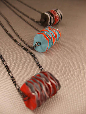 various ruffled disc necklaces from adaptive reuse available on etsy