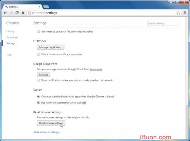 Ảnh mô phỏngGỡ bỏ hoàn toàn WebSearch Toolbar và WebSearch.com - Reset-Chrome-Settings-3