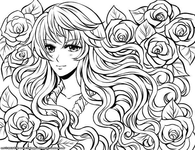 Adult Coloring Page  Anime Coloring Pages  Selfcoloringpages