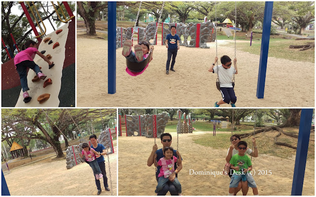 The kids having fun in the park