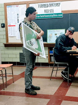 T.J. Carr, Eagle Scout Candidate from Troop 22 in New Waterford, proposes his Eagle project to benefit the Headwaters Nature Trail at a recent Township Trustees Meeting.