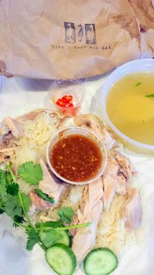 Khao Man Gai, a chicken and rice dish from the food cart, Nong's Khao Man Gai, Portland Oregon