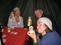 Kili Climb Day 5 - Mweka Camp celebration with Kilimanjaro beers