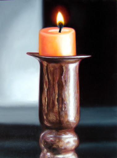 "Candle on Brass Stand 9"" by 12"" oil on panel. Artist Judy Prisoc"