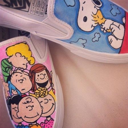 Tênis Vans customizados com personagens de desenhos animados - Snoopy