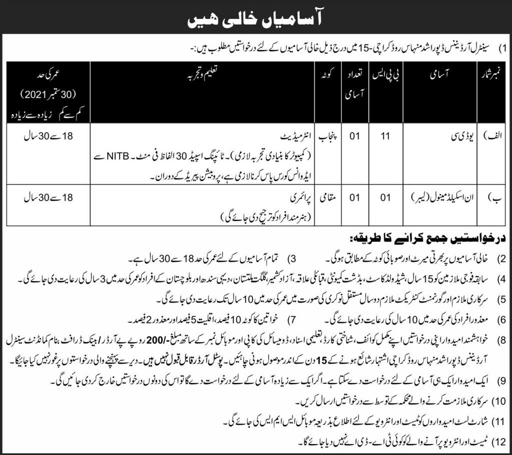 Pakistan Army COD Jobs 2021 Download Application Form