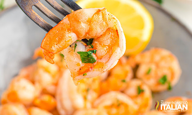 air fried shrimp on a fork